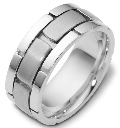 Item # C122041WE - 18K white gold, 9.0 mm wide, comfort fit wedding band. The center of the ring is brushed and the outer edges are polished. Different finishes may be selected or specified.