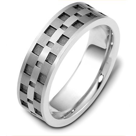 Item # C122291TE - Titanium and 18 Kt white gold wedding band, 7.0 mm wide, comfort fit wedding band. The grooves are a sandblast coarse finish and the rest is polished. Different finishes may be selected or specified.