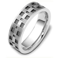 Item # C122291TE - Titanium and 18 Kt White Gold Wedding Band