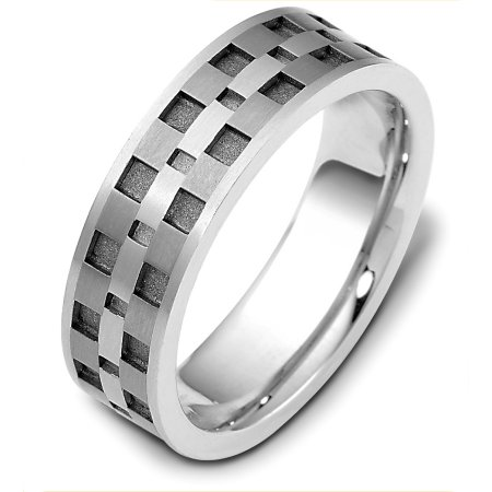 Item # C122291TG - Titanium and 14 kt white gold, 7.0 mm wide, comfort fit band. The grooves are a sandblast coarse finish and the rest is polished. Different finishes may be selected or specified.