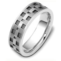 Item # C122291TG - Titanium and 14 Kt White Gold Wedding Band