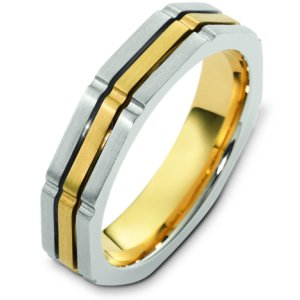Item # C122951E - 18K two-tone gold, comfort fit, 4.5 mm wide wedding band. The finish on the ring is brushed. Different finishes may be selected or specified.