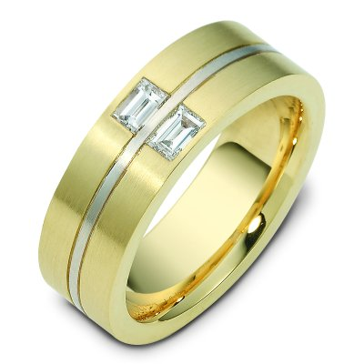 Item # C123541 - 14K white and yellow gold two tone, 7.5 mm wide, comfort fit diamond wedding band. The band has two baguette cut diamonds with total weight 0.40 ct. The diamonds are graded as VS1 in clarity G in color. The finish on the ring is matte. Different finishes may be selected or specified.
