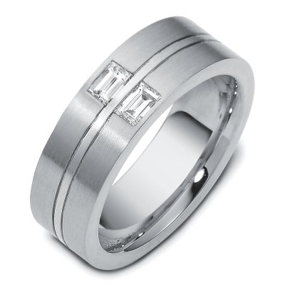 Item # C123541WE - 18K white gold, 7.5 mm wide, comfort fit diamond wedding band. The band has two baguette cut diamonds with total weight 0.40 ct. The diamonds are graded as VS1 in clarity G in color. The finish on the ring is matte. Different finishes may be selected or specified.