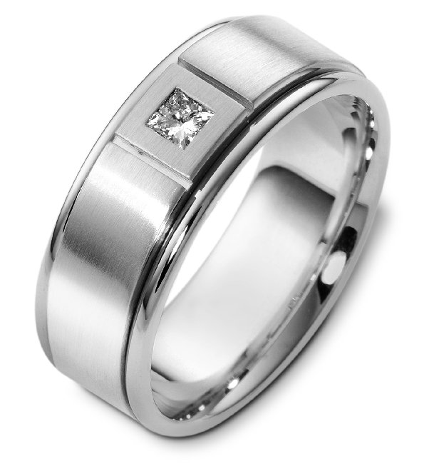Item # C123751PP - Platinum, 8.0 mm wide, comfort fit diamond wedding band. The wedding band has one princess cut diamond that weighs 0.16 ct and is graded as VS in clarity G-H in color. The finish in the center is matte and the outer edges are polished. Different finishes may be selected or specified.