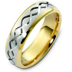 Item # C123911E - 18K two-tone gold, 6.5 mm wide, comfort fit, carved wedding band. The finish in the center is brushed and the outer edges are polished. Different finishes may be selected or specified.
