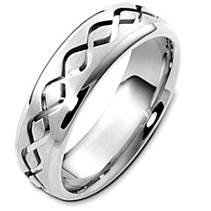 Item # C123911PD - Palladium, 6.5 mm wide, comfort fit, carved wedding band. The finish in the center is brushed and the outer edges are polished. Different finishes may be selected or specified.
