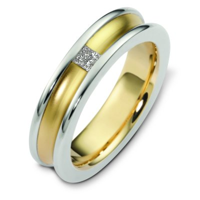 Item # C124451E - 18 K white and yellow gold, 6.0 mm wide, comfort fit diamond wedding band. The princess cut diamond weighs 0.16 ct and is graded as VS1 in clarity G in color. The curved inward portion of the ring is a matte finish. The outer edges are polished. Other finishes may be selected or requested.