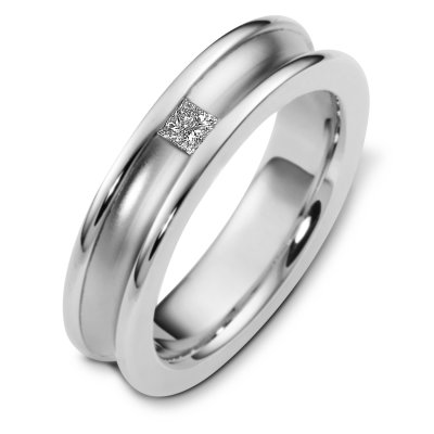 Item # C124451WE - 18 K white gold, 6.0 mm wide, comfort fit diamond wedding band. The princess cut diamond weighs 0.16 ct and is graded as VS1 in clarity G in color. The curved inward portion of the ring is a matte finish. The outer edges are polished. Other finishes may be selected or requested.