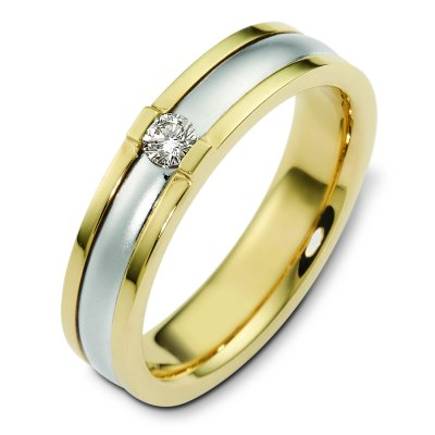 Item # C124481E - 18K white and yellow gold, 5.5 mm wide, comfort fit, diamond wedding band. The diamond is round brilliant cut weighs 0.15 ct and is graded as VS2 in clarity G-H in color