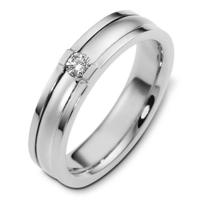 Item # C124481WE - 18K white gold, 5.5 mm wide, comfort fit, diamond wedding band. The diamond is round brilliant cut weighs 0.15 ct and is graded as VS2 in clarity G-H in color