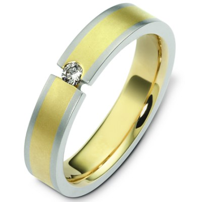 Item # C124571 - 14K two tone gold, 5.0 mm wide, comfort fit, diamond wedding band. Diamond is 0.09 ct and VS in clarity G-H in color. The finish on the ring is matte. Other finishes may be selected or requested.