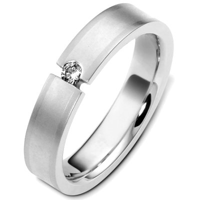 Item # C124571PD - Palladium, 5.0 mm wide, comfort fit, diamond wedding band. Diamond is 0.09 ct and VS in clarity G-H in color. The finish on the ring is matte. Other finishes may be selected or requested.