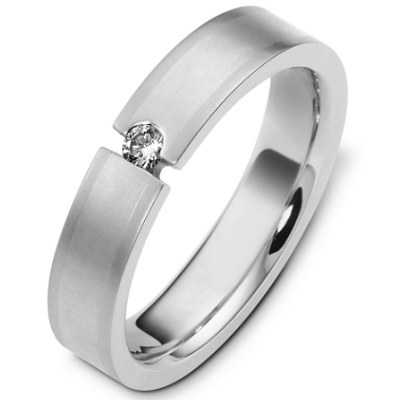 Item # C124571W - 14K white gold, 5.0 mm wide, comfort fit, diamond wedding band. Diamond is 0.09 ct and VS in clarity G-H in color. The finish on the ring is matte. Other finishes may be selected or requested.