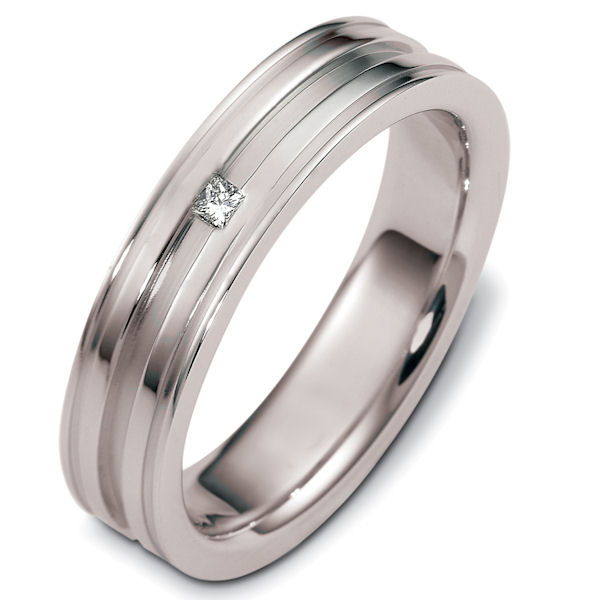 Item # C124811PP - Platinum diamond, comfort fit, 5.5mm wide wedding band. The total diamond weight is 0.035 ct; graded as VS in clarity and G-H in color. There is one princess cut diamond in the center of the ring. The ring has a matte finish in the grooves and polished finish on the rest of the band. Different finishes may be requested.