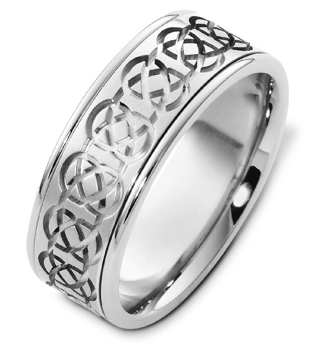 Item # C125231WE - One 18K white gold, comfort fit, 8.0 mm wide Celtic wedding band. The center of the ring is matte and the outer edges are polished. Different finishes may be selected or specified.