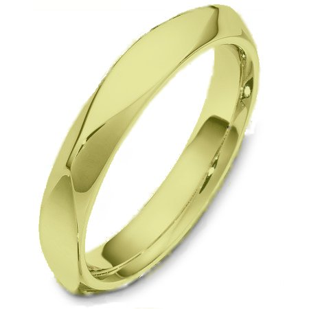 Item # C127171E - 18 Kt gold wedding band, 4.0 mm wide, comfort fit wedding band. The band is plain with subtle accents. The finish on the ring is polished. Different finishes may be selected or specified.