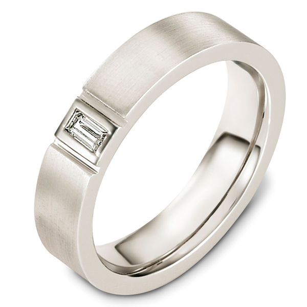 Item # C127541W - 14kt White gold diamond, 5.5 mm wide, comfort fit wedding band. It holds one straight baguette cut 0.15 ct diamond, VS1 in clarity and GH in color. The ring has a matte finish. Different finishes may be selected.