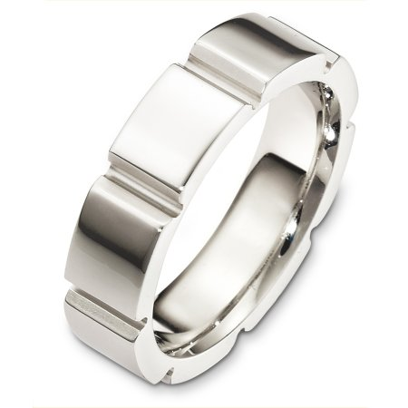 Item # C127691WE - 18 Kt White gold wedding band, 6.0 mm wide, comfort fit wedding band. The finish on the ring is polished. Different finishes may be selected or specified.