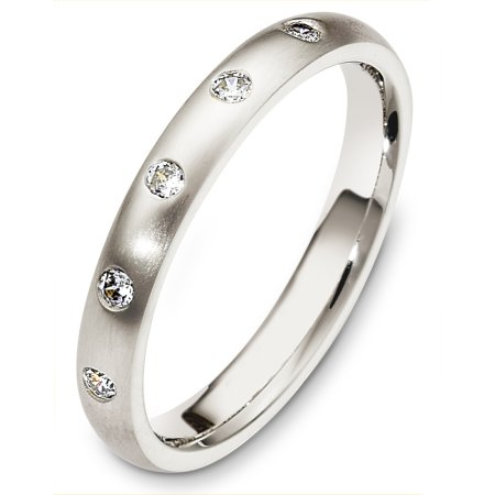Item # C130301PP - Platinum diamond wedding band, 3.0 mm wide, comfort fit band. It holds 0.13 ct tw diamonds, VS in clarity and GH in color. The finish on the rings is matte. Other finishes may be selected or specified.
