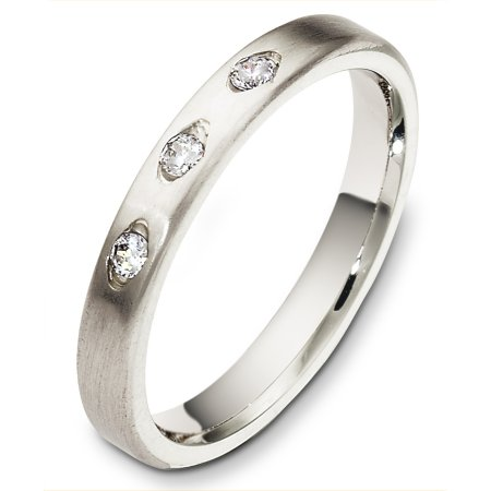 Item # C130311W - 14 Kt White gold diamond wedding band, 3.0 mm wide, comfort fit band. It holds 3 diamonds that are 0.12 ct tw, VS in clarity and GH in color. The finish is brushed. Other finishes may be selected or specified.