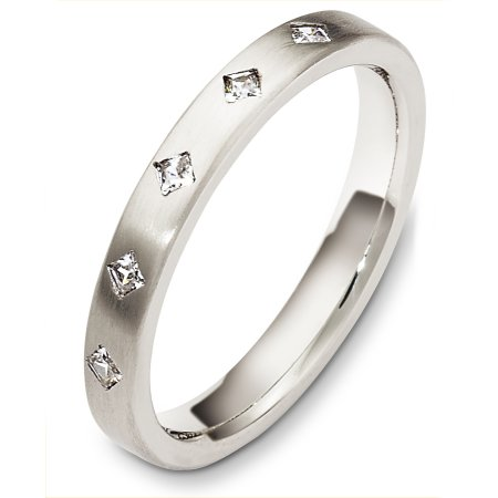 Item # C130321W - 14 Kt White gold diamond wedding band, 3.0 mm wide, comfort fit band. It holds 0.15 ct tw diamonds, VS in clarity and GH in color. The finish on the ring is matte. Other finishes may be selected or specified.