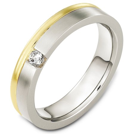 Item # C130351E - 18 Kt Two-tone diamond wedding band, 5.0 mm wide, comfort fit band. The band has one stone that weighs 0.10 ct diamond, VS in clarity and GH in color. The finish on the ring is matte. Other finishes may be selected or specified.