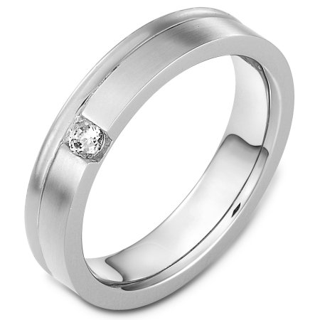 Item # C130351WE - 18 Kt White gold diamond wedding band, 5.0 mm wide, comfort fit band. The band holds one stone that weighs 0.10 ct diamond, VS in clarity and GH in color. The finish on the ring is matte. Other finishes may be selected or specified.