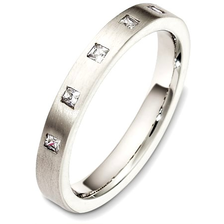 Item # C130631PD - Palladium, 3.0 mm wide, comfort fit diamond wedding band. The diamond total weight is 0.15ct. The diamonds are graded as VS in clarity and G-H in color. The finish on the ring is matte. Other finishes may be selected or specified.