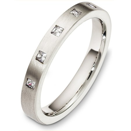 Item # C130631WE - 18 Kt White gold diamond wedding band, 3.0 mm wide, comfort fit band. It holds 0.15 ct tw diamonds, VS in clarity and GH in color. The finish on the ring is matte. Other finishes may be selected or specified.
