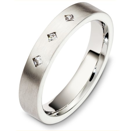 Item # C130651W - 14 Kt White gold diamond wedding band, 4.0 mm wide, comfort fit. It holds 0.06 ct tw diamonds, VS in clarity and GH in color. The finish on the ring is matte. Other finishes may be selected or specified.