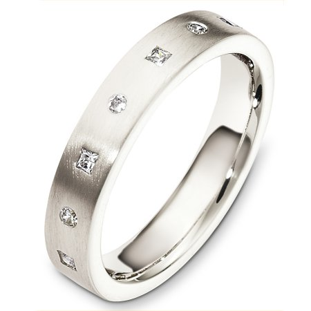 Item # C130661WE - 18 Kt White gold diamond wedding band, 4.0 mm wide, comfort fit band. It holds 0.13 ct tw diamonds, VS in clarity and GH in color. The finish on the ring is matte. Other finishes may be selected or specified.