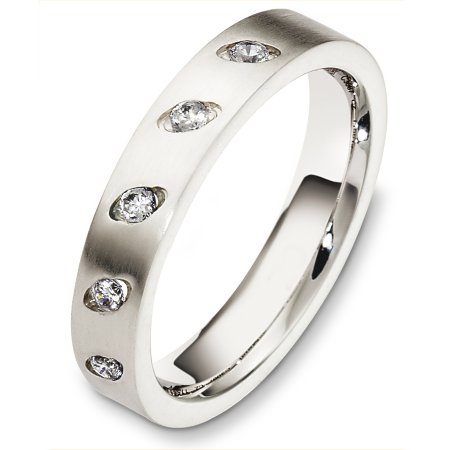 Item # C130671PP - Platinum diamond wedding band, 4.0 mm wide, comfort fit band. It holds 0.20 ct tw diamonds, VS in clarity and GH in color. The finish on the ring is matte. Other finishes may be selected or specified.