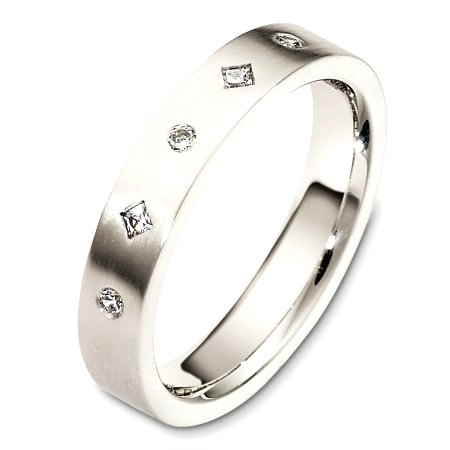 Item # C130691PD - Palladium, 4.0 mm wide, comfort fit diamond wedding band. The diamond total weight is 0.10ct. The diamonds are graded as VS in clarity and G-H in color. The finish on the ring is matte. Other finishes may be selected or specified.