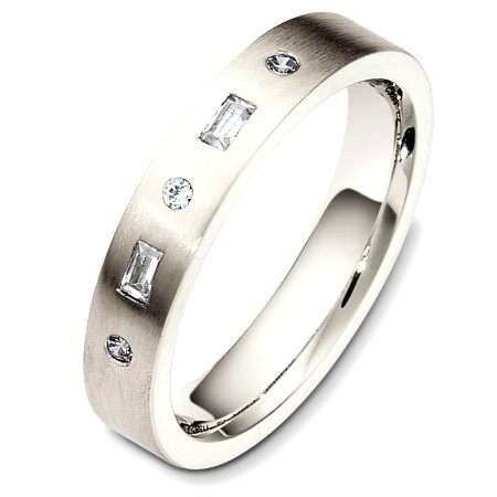 Item # C130711PD - Palladium, 4.0 mm wide, comfort fit diamond wedding band. The diamond total weight is 0.125ct. The diamonds are graded as VS in clarity and G-H in color. The finish on the ring is matte. Other finishes may be selected or specified.
