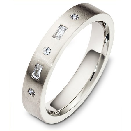 Item # C130711WE - 18 Kt White gold diamond wedding band, 4.0 mm wide, comfort fit band. It holds 0.03 brilliant cut diamonds and 0.10 ct tw baguette cut diamonds, VS in clarity and GH in color. The finish on the ring is matte. Other finishes may be selected or specified.