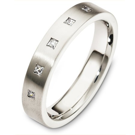 Item # C130731WE - 18 Kt White gold diamond wedding band, 4.0 mm wide, comfort fit band. It holds 0.10 ct tw princess cut diamonds, VS in clarity and GH in color. The finish on the ring is matte. Other finishes may be selected or specified.