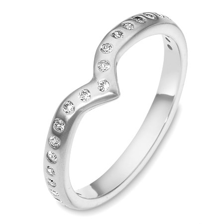 Item # C130881W - 14 Kt White gold diamond wedding band, 2.5 mm wide, comfort fit band. It holds 0.25 ct tw diamonds, VS in clarity and GH in color. The finish is matte. Other finishes may be selected or specified.
