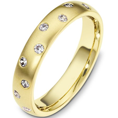 Item # C130981E - 18 Kt Yellow gold diamond wedding band, 4.0 mm wide, comfort fit band with 9 diamonds total weight of 0.23 ct tw, VS1-2 in clarity and GH in color. The finish is matte. Other finishes may be selected or specified.