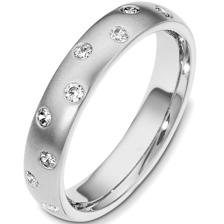 Item # C130981WE - 18 Kt White gold diamond wedding band, 4.0 mm wide, comfort fit band with 9 diamonds total weight of 0.23 ct tw, VS1-2 in clarity and GH in color. The finish is matte. Other finishes may be selected or specified.