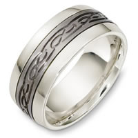 Item # C131331TE - Titanium and 18 Kt White Gold Wedding Band