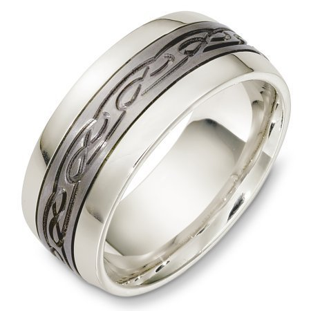 Item # C131331TP - Titanium and platinum, 9.0 mm wide, comfort fit wedding band. The center has a carved design with a matte finish. The outer edges are polished. Different finishes may be selected or specified.