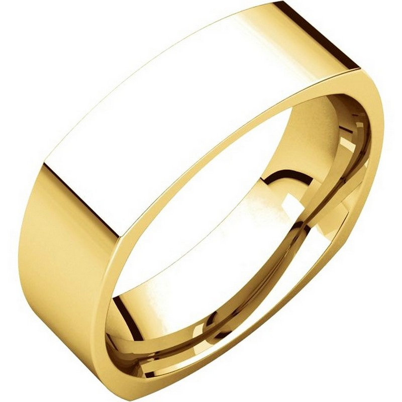 Item # C131621E - 18 Kt Yellow gold wedding band, 6.0 mm wide, comfort fit wedding band. The band is squared and has rounded edges for a comfort fit. The finish on the ring is brushed. Other finishes may be selected or requested.