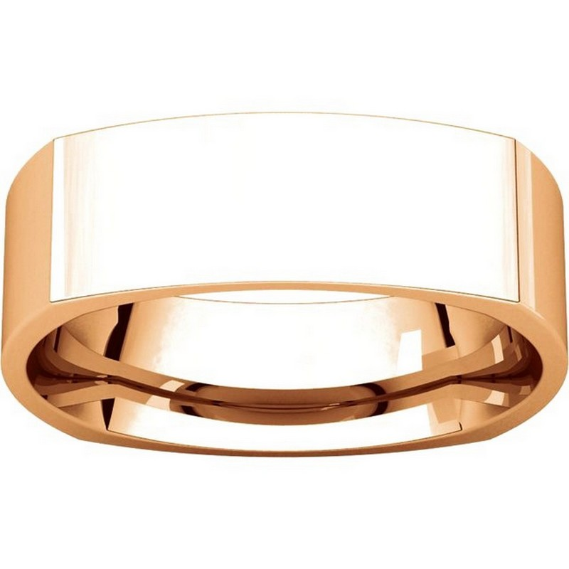 Item # C131621R View 3 - 14K Rose Gold 6mm Wide Square Wedding Ring