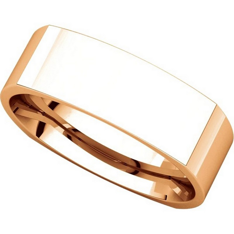 Item # C131621R View 4 - 14K Rose Gold 6mm Wide Square Wedding Ring
