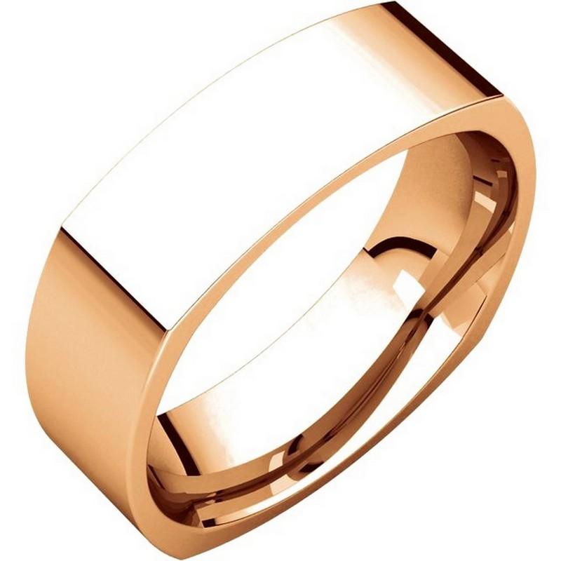 Item # C131621R - 14 kt Rose gold wedding band, 6.0 mm wide, comfort fit wedding band. The band is squared and has rounded edges for a comfort fit. The finish on the ring is brushed. Other finishes may be selected or requested.