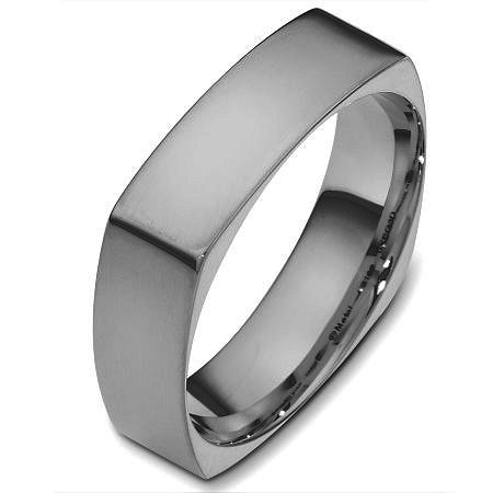 Item # C131621TI - Titanium wedding band, 6.0 mm wide, comfort fit wedding band. The band is squared and has rounded edges for a comfort fit. The finish on the ring is brushed. Other finishes may be selected or requested.
