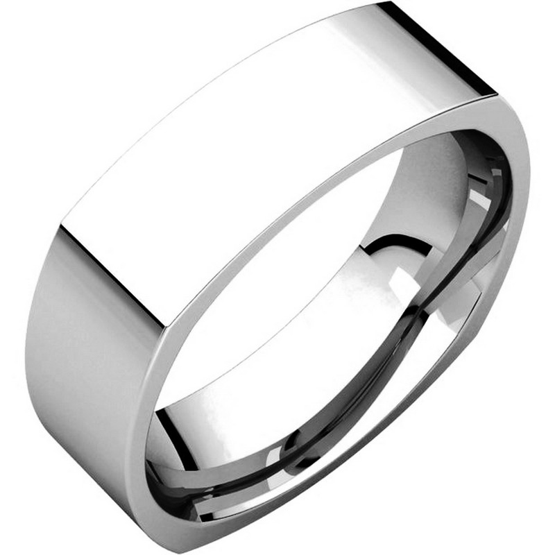 Item # C131621W - 14 Kt White gold wedding band, 6.0 mm wide, comfort fit wedding band. The band is squared and has rounded edges for a comfort fit. The finish on the ring is brushed. Other finishes may be selected or requested.