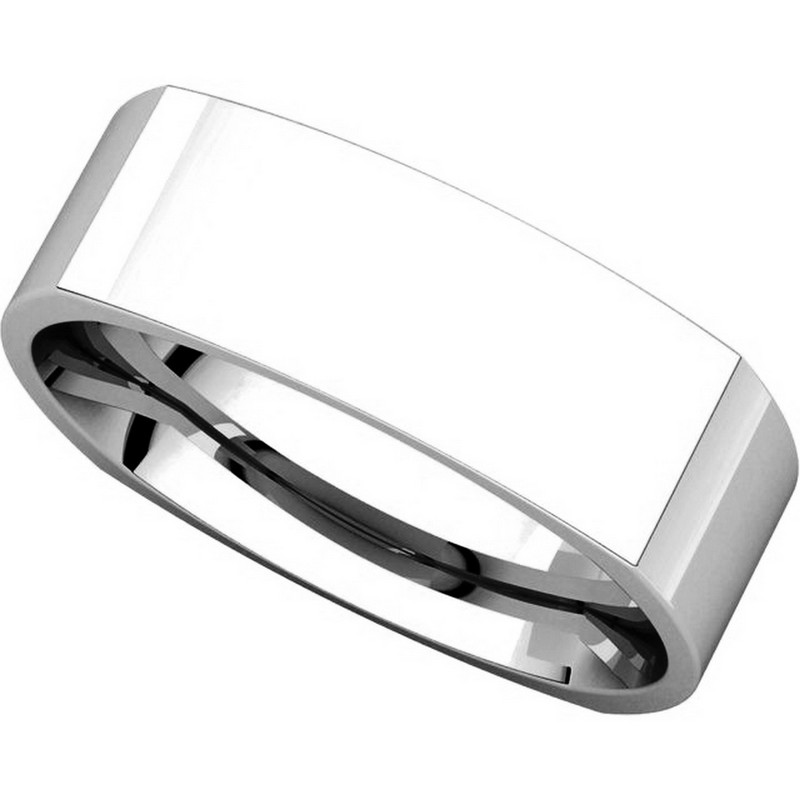 Item # C131621WE View 4 - 18K White 6mm Square Mens Wedding Band