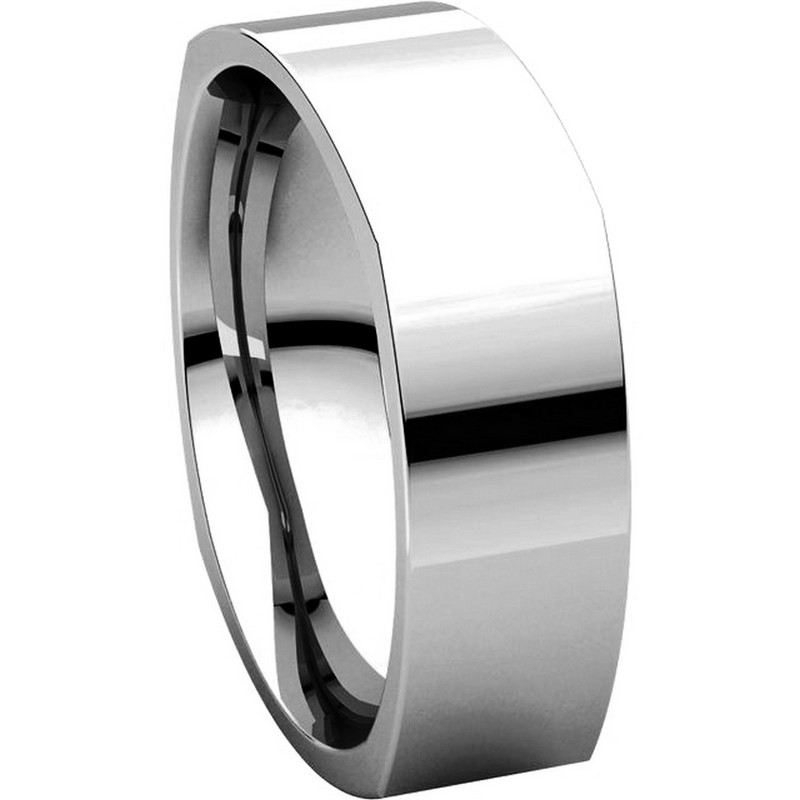 Item # C131621WE View 5 - 18K White 6mm Square Mens Wedding Band